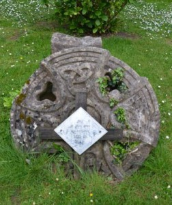 St David's Church Celtic Cross on ground